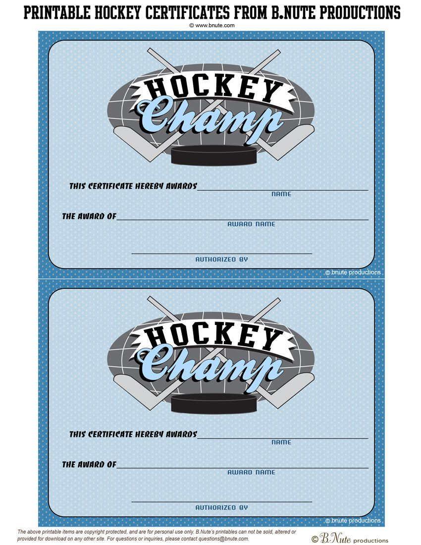 Bnute Productions Free Printable Hockey Party Tags And Certificates