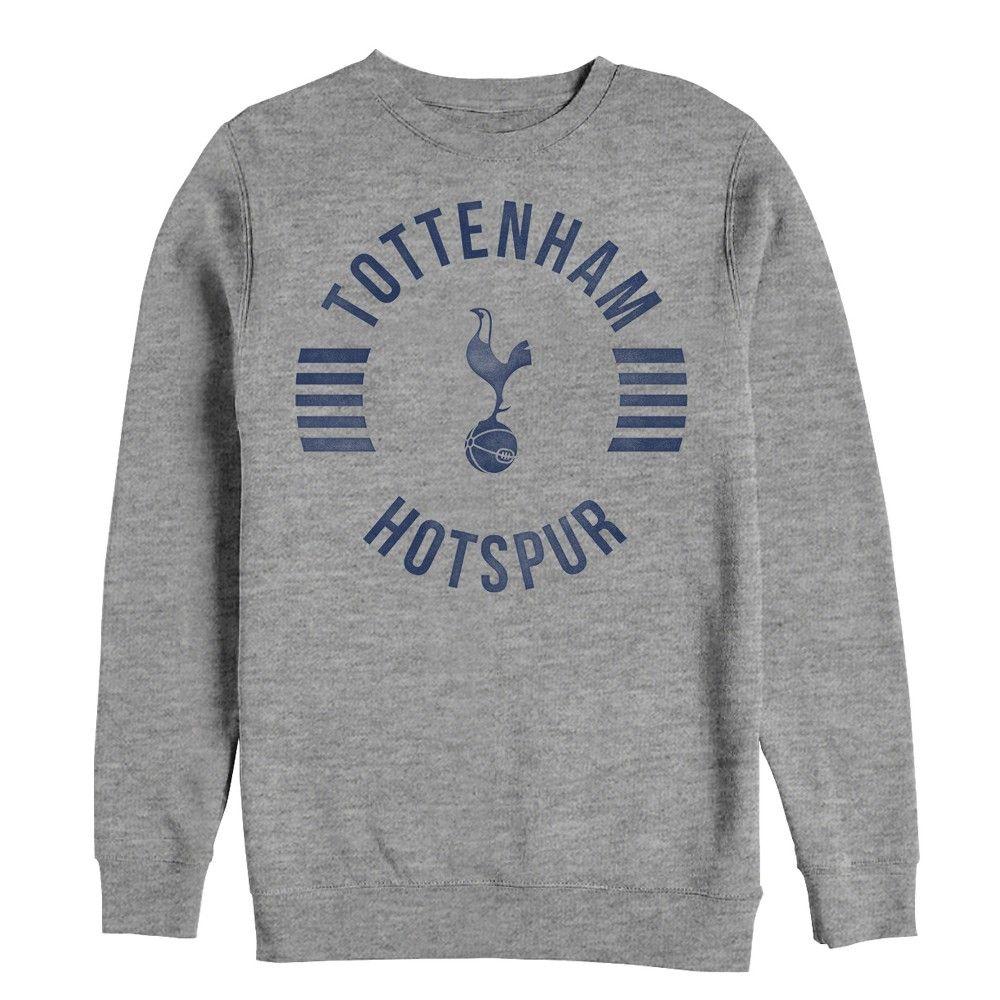 Men S Tottenham Hotspur Football Club Team Striped Logo Sweatshirt Athletic Heather Medium Sweatshirts Tottenham Hotspur Football Graphic Sweatshirt [ 1000 x 1000 Pixel ]