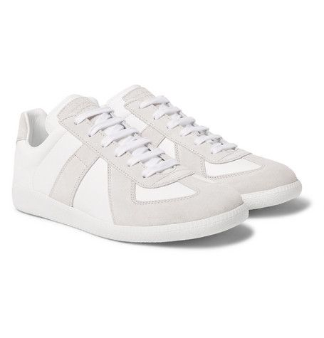 e602f9d3c3a51 MAISON MARGIELA REPLICA SUEDE AND LEATHER SNEAKERS.  maisonmargiela  shoes