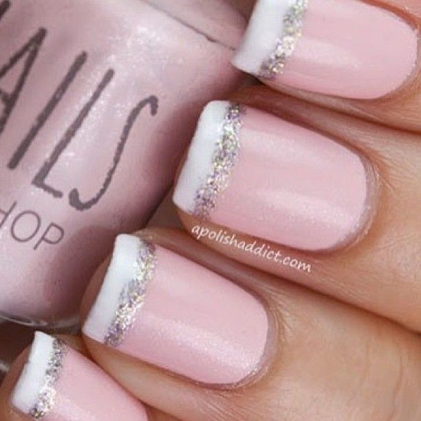 Light Pink Nails With White Tips And Glitter