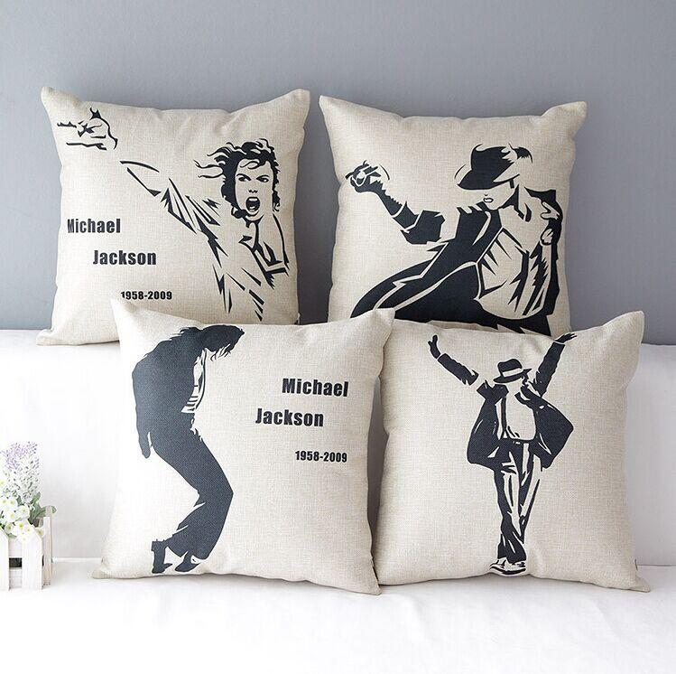 High Quality 4 pcs a set Michael Jackson Cotton Linen Home Accesorries soft Comfortable Pillow Cover Cushion Cover 45cmx45cm
