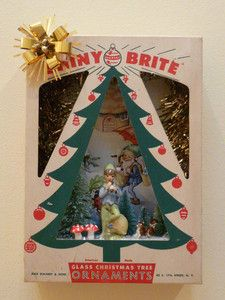 vintage christmas shiny brite ornament shadow box on ebay vintage christmas crafts vintage ornaments - Ebay Vintage Christmas Decorations