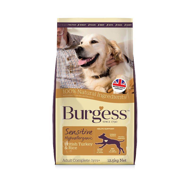 Burgess sensitive adult dog food turkey and rice dry dog
