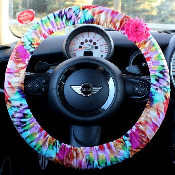 Tye Dye Steering Wheel Cover Car Accessories for Her w/ Shabby Rose ...