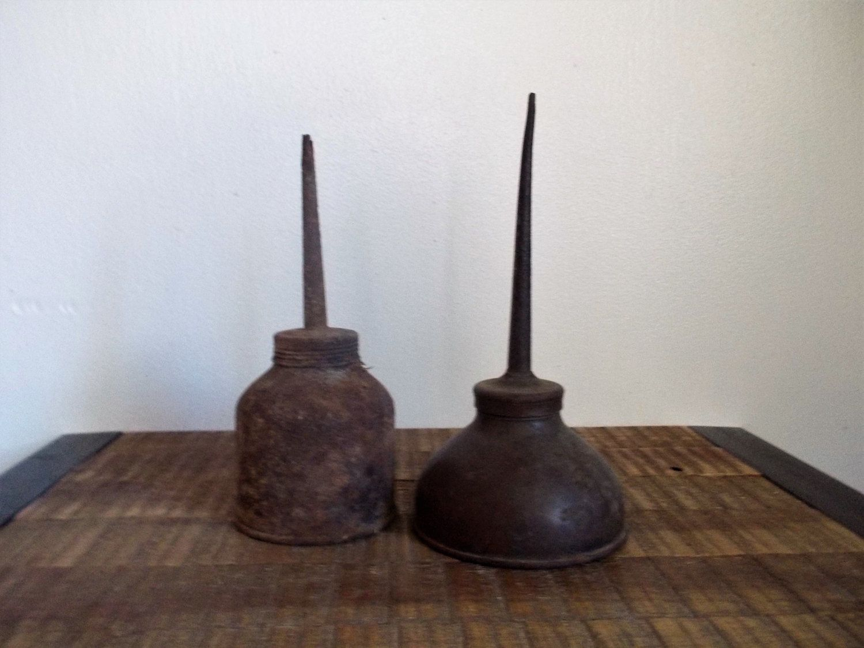 Pair of Primitive Rusty Vintage Oil Can Oilers by ObjetLuv