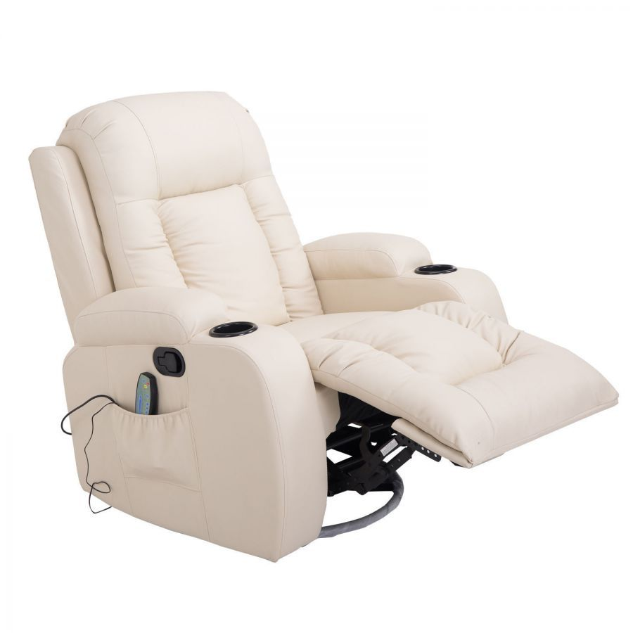 Homcom Luxury Faux Leather Heated Vibrating Massage Recliner Chair With Remote Cream White Overstuffed Heated Vibrating Recliner Chair Recliner Chair Outdoor Lounge Chair Cushions Chair