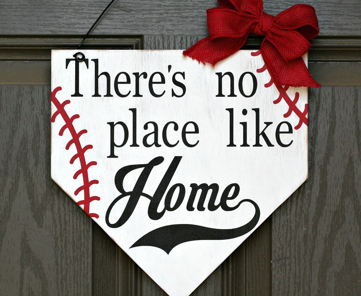 There's no place like home baseball base wood sign, There ...