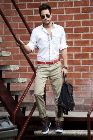 Men's White Long Sleeve Shirt, Khaki Chinos, Navy Leather Boots ...
