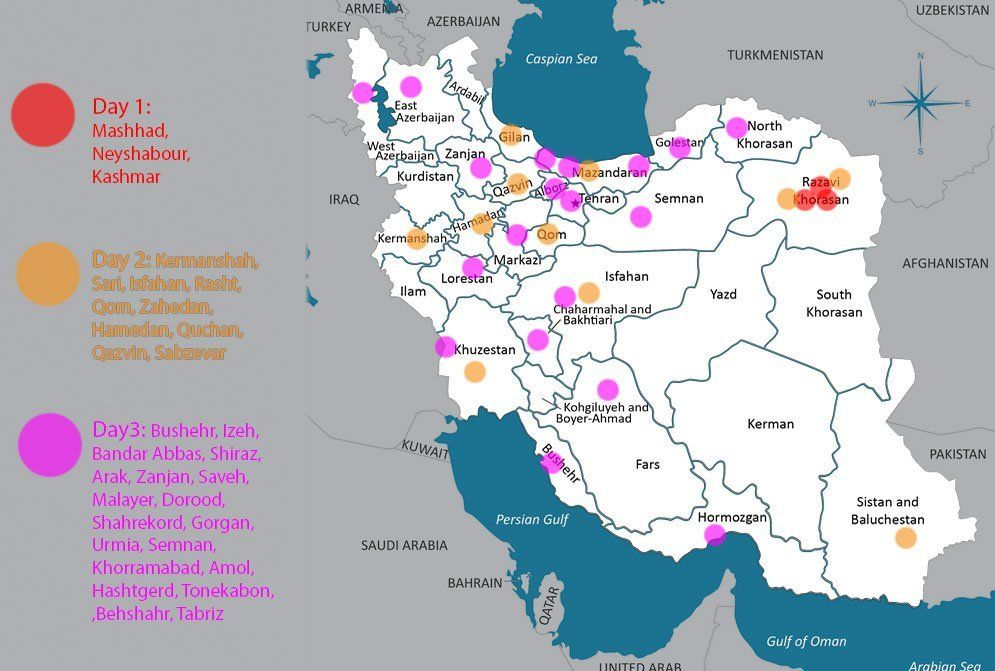 Map of Iran showing locations of protests over the last three days