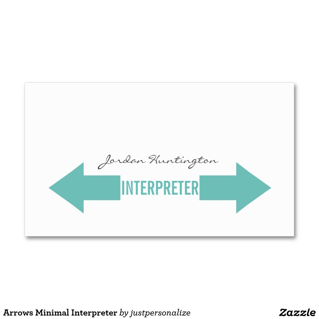 Arrows Minimal Interpreter Double Sided Standard Business Cards Pack Of 100 Carte De