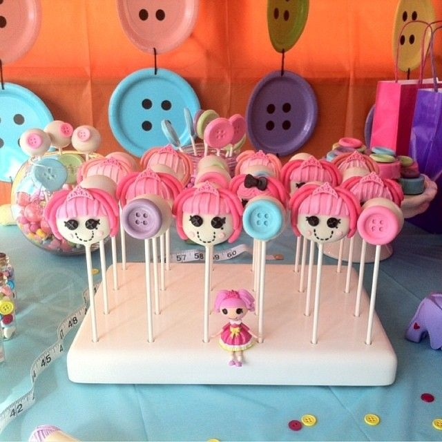 Lalaloopsy Cake Pops made by @Debbie Cavero Delights in her KC Bakes Cake Pop Stand