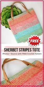 crochet Sherbet Stripes Tote free pattern crochet Sherbet Stripes Tote free pattern  easy crochet tote pattern for beginners This image has get 0 repins Author Anissa Car...