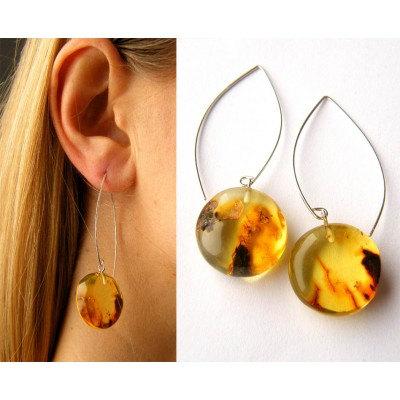 FREE Shipping, Amber earrings, orange,  honey,  Silver 925, NEW, UNIQUE- Handmade von JewellryWithSoul auf Etsy