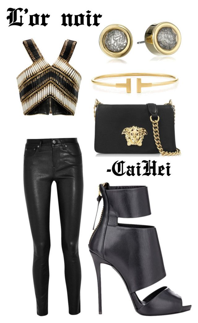 """""""L'or noir"""" by caihei on Polyvore featuring Balmain, Helmut Lang, Giuseppe Zanotti, Versace, Tiffany & Co. and Marc by Marc Jacobs"""
