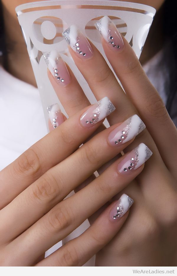 White and silver glitter tips with diamond details | Hair and nails ...