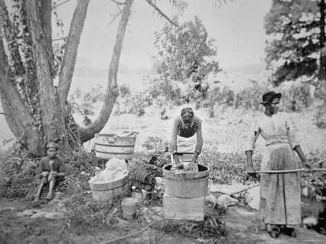 Slaves Washing Clothes By A Stream C 1860s African American History American History Black History