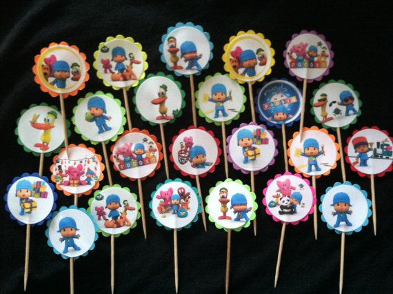 24 Pocoyo Cupcake Toppers Birthday Party Favor by ileana909, $4.99