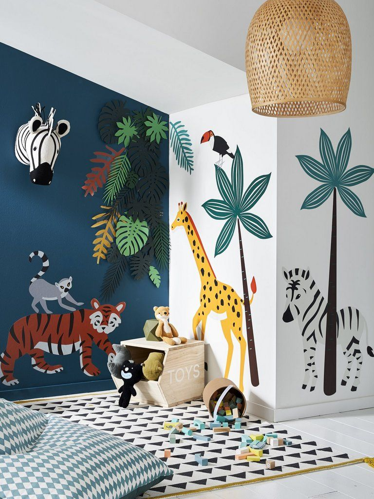 La savane envahit la chambre des enfants teach - Idee decoration chambre bebe garcon ...