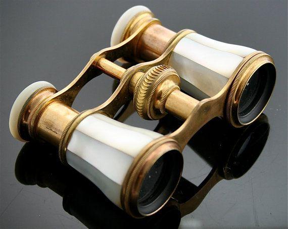 Arredamento D'antiquariato Antique Vintage Opera Binoculars Binocolo Mother Of Pearl Madreperla Argento Complementi D'arredo