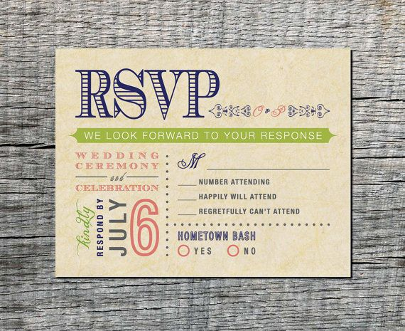 Vintage Wedding Rsvp Postcard Double Event By Diffedesigns10 20 00