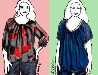 Links füllig, rechts schlanker: Stoffe und Schnitt-Details entscheiden maßgeblich, ob Sie in einem Kleidungsstück schlanker aussehen oder nicht. Auf www.modefluesterin.de erfahren Sie, wie es funktioniert.