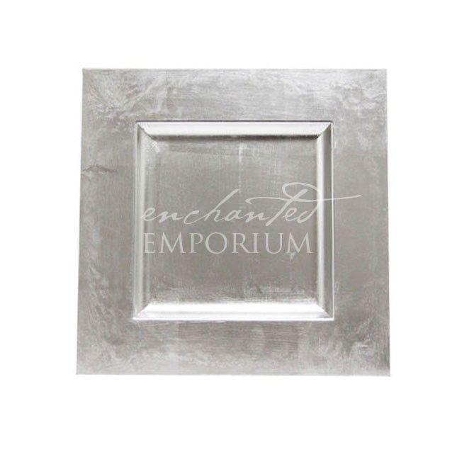 Silver Square Charger Plates Enchanted Emporium  sc 1 st  Pinterest & Silver Square Charger Plates Enchanted Emporium | Platos base ...