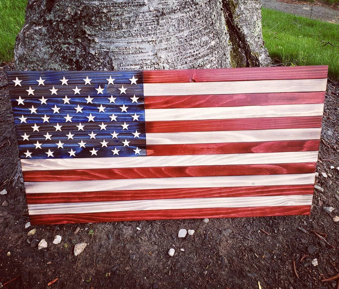 Traditional Us Flag Completed And On Its Way Yes I Do The Old Red White And Blue Too It S Not Always Custom This Size Is Woodworking Us Flags Old Things