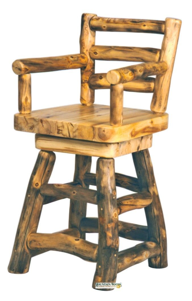 Mountain Woods 30 Barstool W Back Arms And Swivel Visit