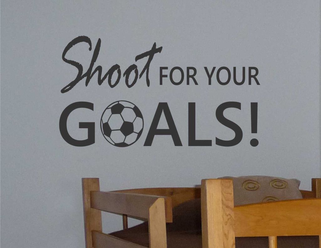 Boys soccer bedroom ideas - Soccer Ball Shoot For Goals Vinyl Wall Lettering Sports Decal