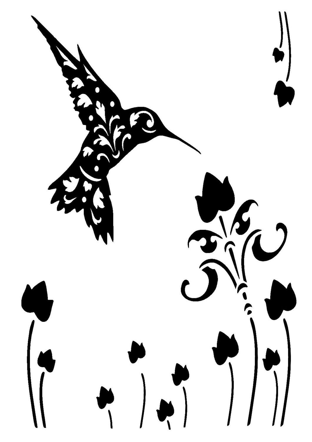 8 3 11 7 Vintage Hummingbird Stencil And Template A4