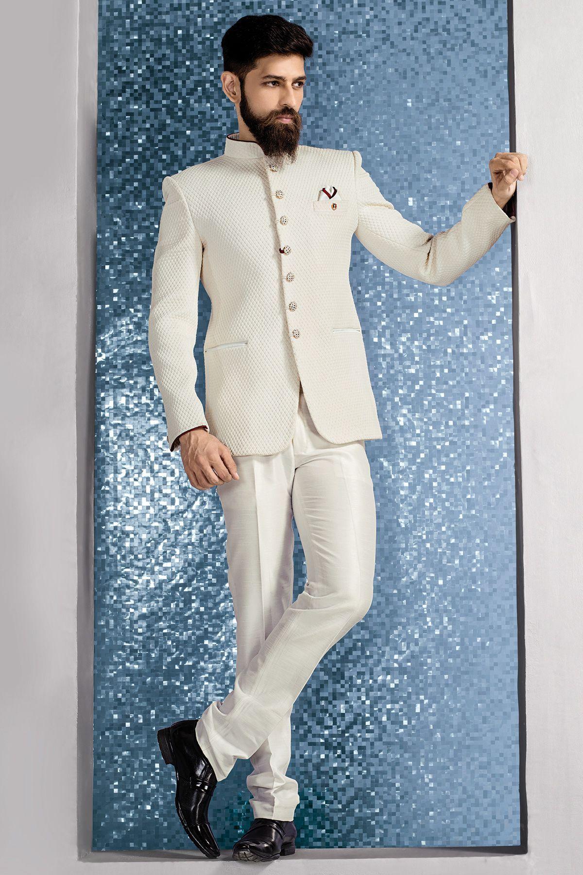 White Jute Embossed Jodhpuri Suit-ST577 | Jodhpuri Suits | Pinterest ...