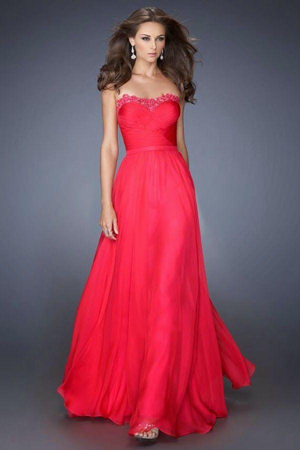 Vestido rojo largo boda dia