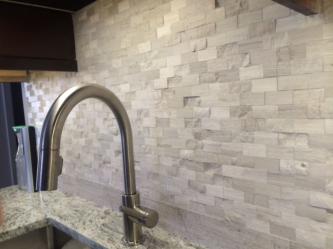 Delta Trask Faucet Grey Marble Split Face Natural Stone Mosaic Subway Wall Tile Backsplash