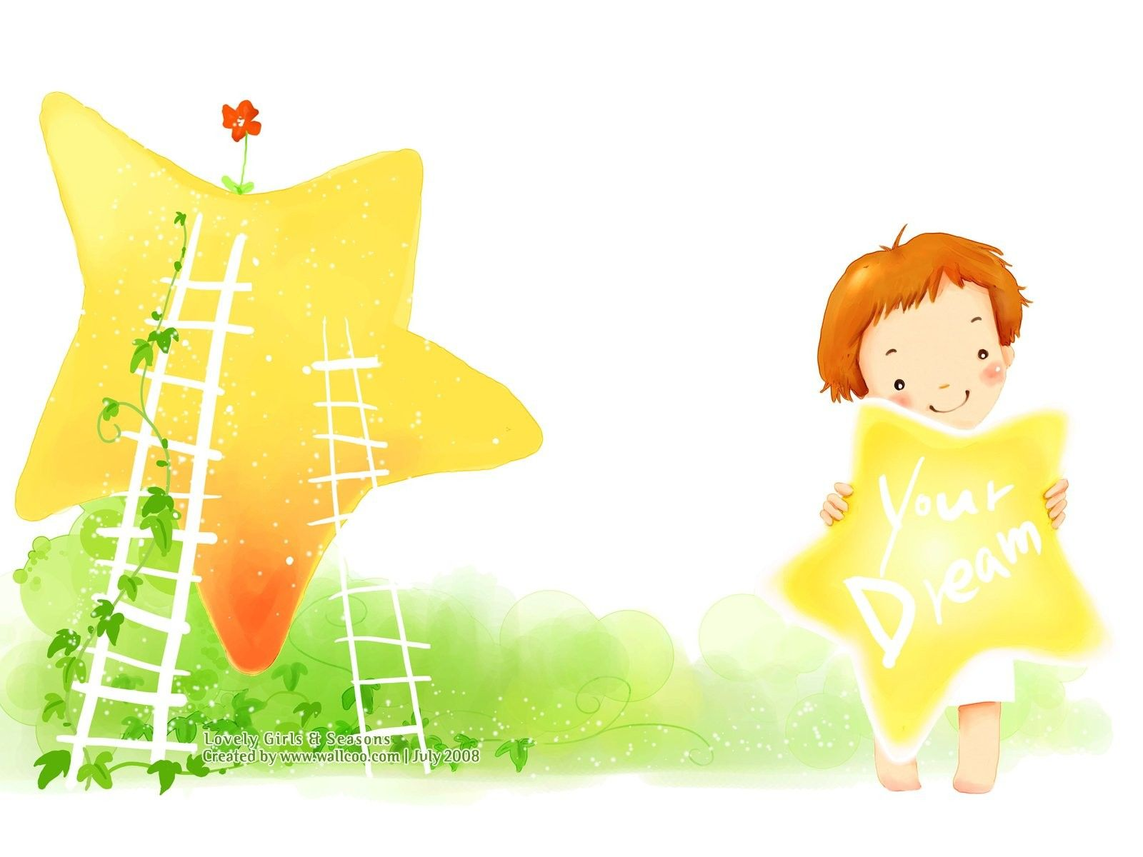 Girl Cartoon Wallpaper Kim Jong Bok Illustration Mooie