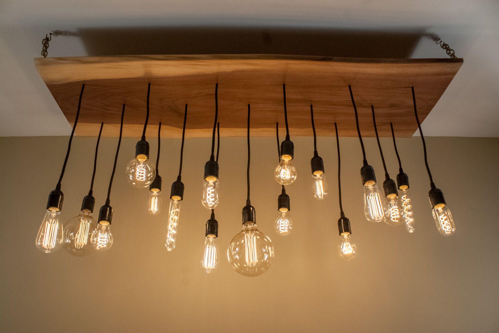 Rustic Chandelier With Edison Bulbs Large 19 Pendant Live Edge
