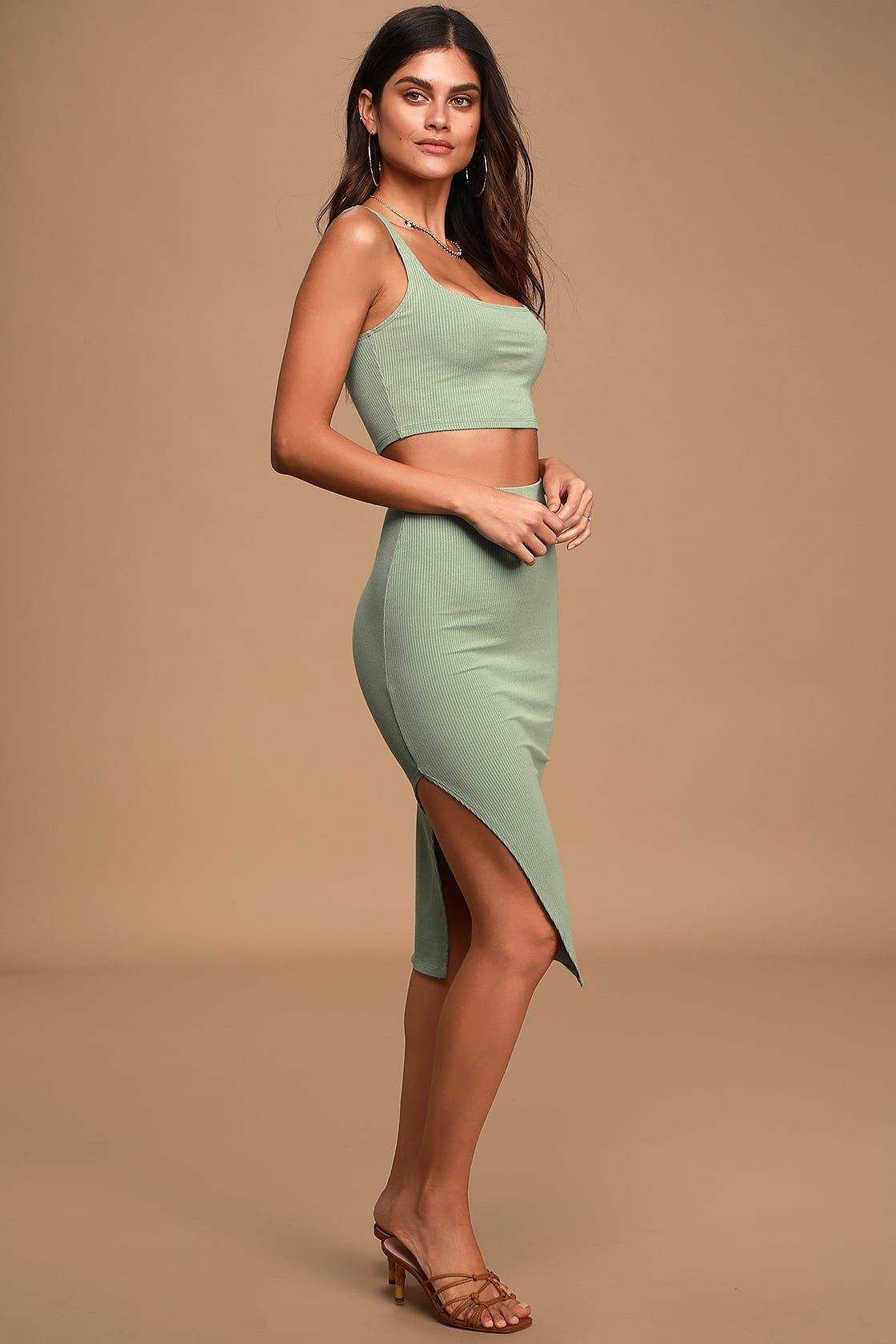 Set For Life Sage Green Ribbed Bodycon Two Piece Dress Two Piece Formal Dresses Two Piece Dress Piece Dress [ 1680 x 1120 Pixel ]