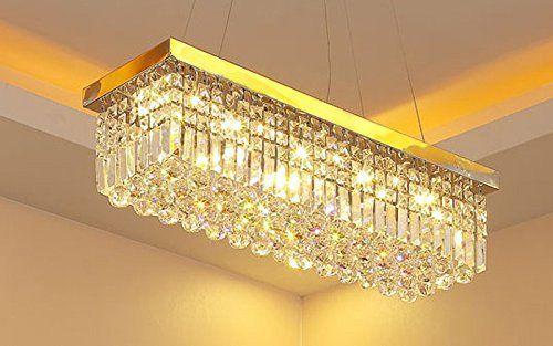 Siljoy Modern Crystal Chandelier Lighting Rectangular Golden Plating ...