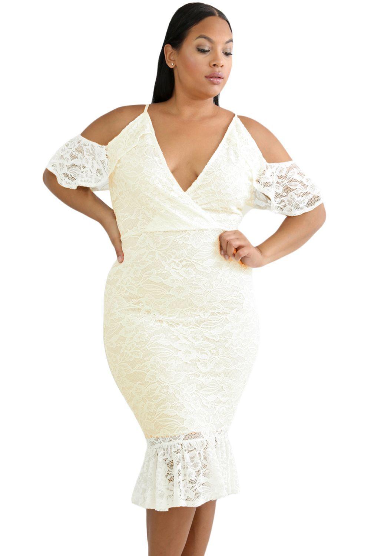 Figurbetonte Kleider kurvig White Cold Shoulder Lace Plus Size