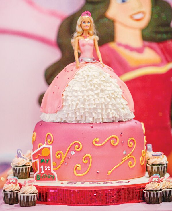 Pink Royal Barbie Princess First Birthday Party Barbie Birthday