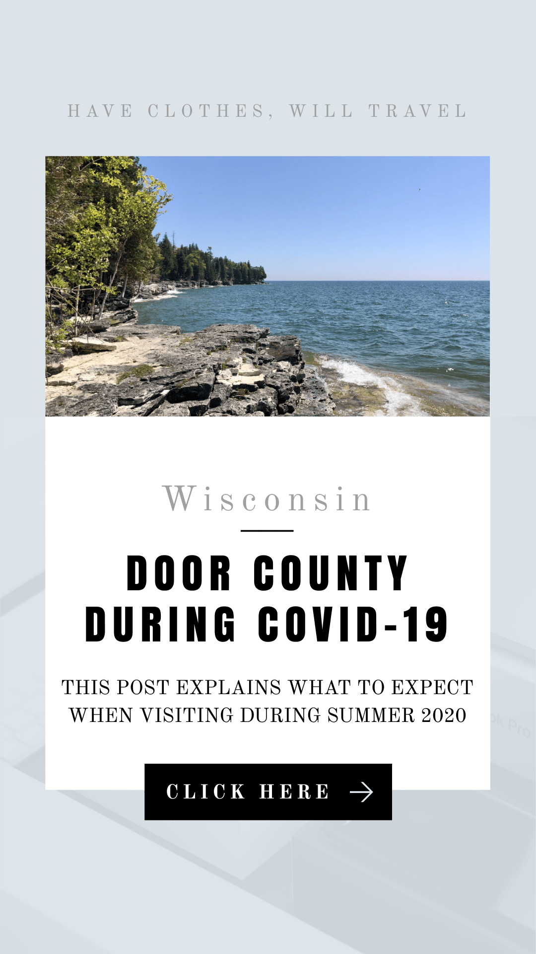 Visiting Door County Wisconsin During COVID-19 what to know before you go - from whether or not the businesses are open, if masks are required and it even busy this summer? This post explains! | wisconsin travel | wisconsin state parks | door county wisconsin | cave point park #doorcounty #wisconsin
