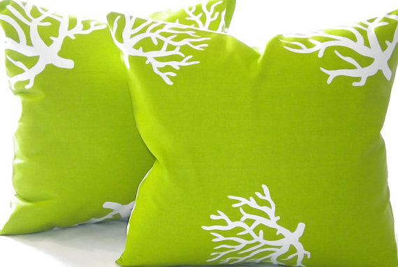 Throw Pillow cover, Chartreuse and White Coral indoor outdoor beach -