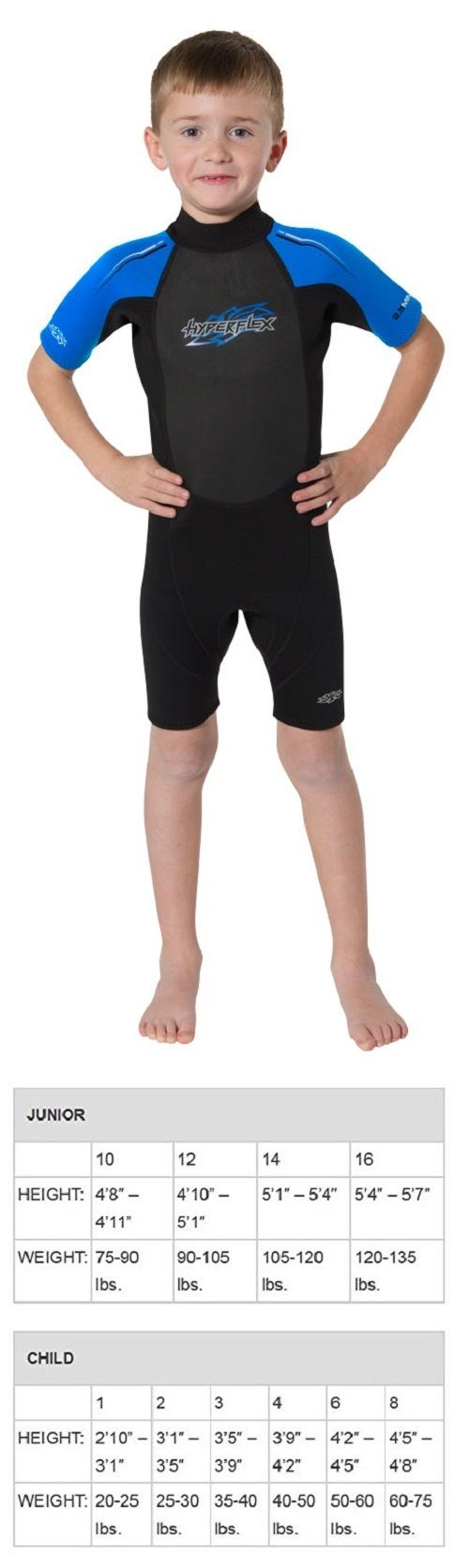 Youth 47355: Hyperflex Children S Access Shorty Spring Suit Wetsuit 2.5Mm Size 2-8 Black Blue -> BUY IT NOW ONLY: $34.99 on eBay!