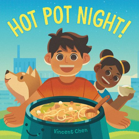 Hot pot, hot pot!  Hits the right spot!    What's for dinner? A Taiwanese American child brings his diverse neighborstogether to make a tasty communal meal. Together, they cook up a steamingfamily dinner that celebrates community, cooperation, and culture. Includes afamily recipe for hot pot!