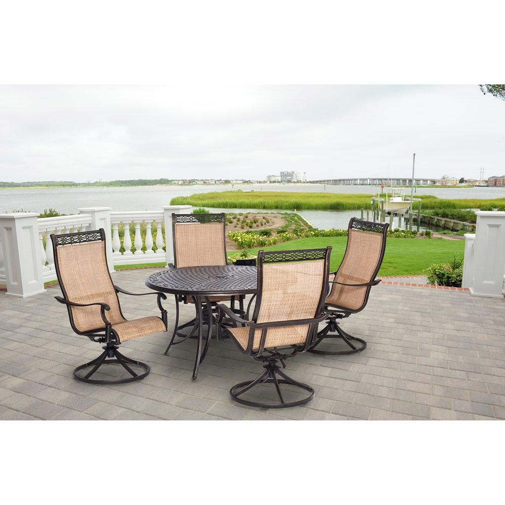 Hanover Manor 5 Piece Round Patio Dining Set With Four Swivel Rockers Mandn5pcsw 4 The Home Depot In 2020 Outdoor Dining Set Patio Outdoor Dining