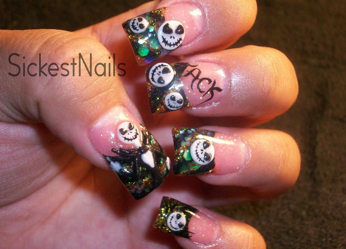 My Halloween Acrylic Nails :3d Jack Skellington Inspired Nails #4 ...