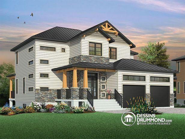 W3718 - Maison moderne rustique, garage double, 3 à 4 chambres, et ...