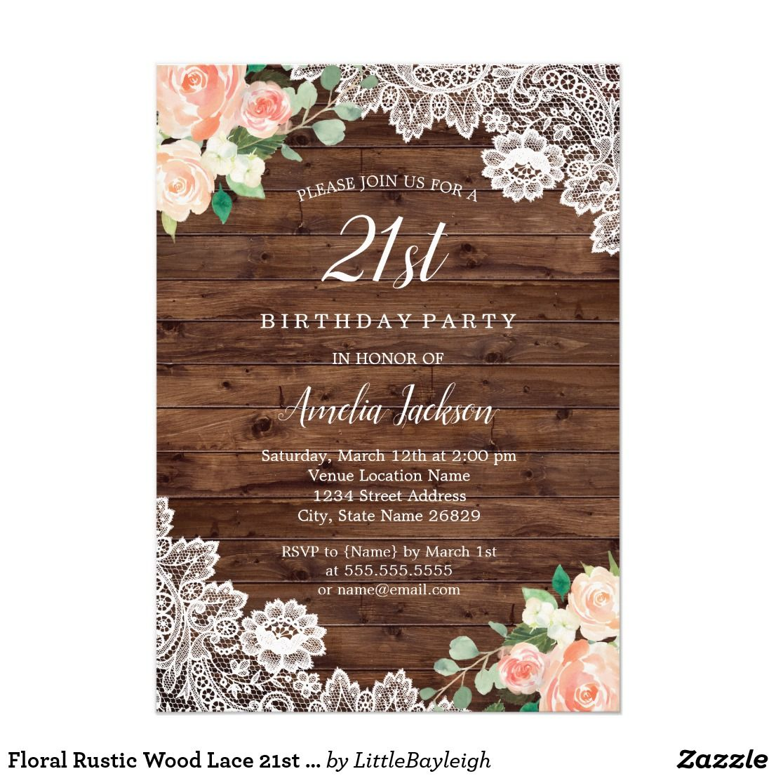 Floral Rustic Wood Lace 21st Birthday Invitation   21st birthday ...