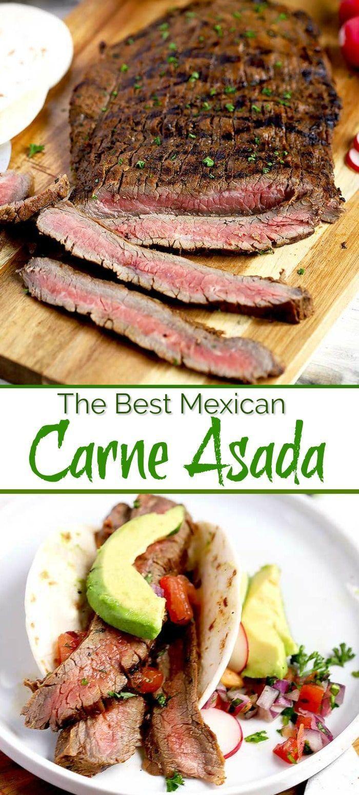 Carne Asada Rezept - mariniertes Flankensteak wird bei starker Hitze schnell gegrillt, ... - ... #recipesforflanksteak
