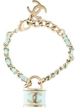 Leather Woven Lock Bracelet