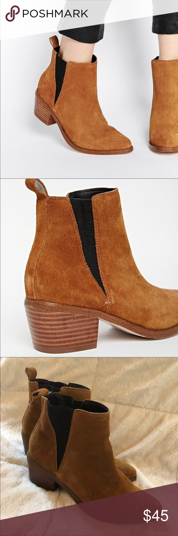d27477dcdfc5 ASOS RISKED IT Pointed Suede Western Chelsea Boots Has one spot on left boot  as shown in second pic ASOS Shoes Ankle Boots   Booties